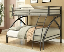 460079 College style dark gun metal grey finish metal frame twin over full bunk bed with curved legs and ladder
