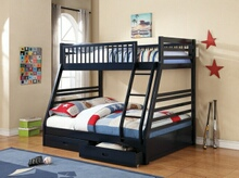 Cooper collection navy blue finish wood twin over full bunk bed set with storage drawers, made with select hardwoods