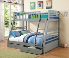 Cooper collection grey finish wood twin over full bunk bed set with storage drawers, made with select hardwoods