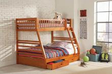 460183 Harriet bee schwanke oak finish wood twin over full bunk bed set with storage drawers
