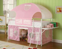 Sweetheart twin loft bed with white frame and pink tented play area and canopy