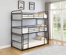 460220T Harriet bee navarino triple Twin dark bronze metal twin over twin over twin bunk beds