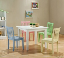 Coaster 460235 5 pc kids play table set with multi color chairs and white finish wood table