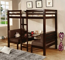 Playstead collection espresso finish twin over twin loft bed with convertible lower bunk to a table and seats