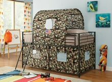 460331 Camouflage army style twin loft bed with black frame and green and brown camouflage tented play area and canopy