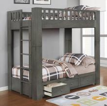 461308 Harriet bee longville antique grey finish wood twin over twin convertible bunk bed