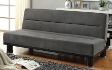 Homelegance 4823GP Winston porter Callie gray microfiber fabric click clack futon sofa folding back