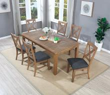 VH-4850-7PC 7 pc Gracie oaks granada natural distressed pine finish wood dining table set