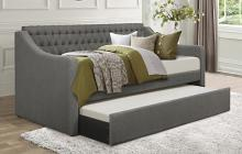 4866DG Labelle dark gray flannel fabric tufted back twin day bed with trundle