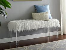 4947 Fatima white faux fur bedroom entry bench acrylic legs