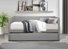 4949GY Tristan II gray faux leather twin day bed with trundle