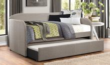 4950GY Tristan II gray faux linen fabric twin day bed with trundle