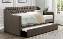 4966BR Tulney brown button tufted fabric tufted back twin day bed with trundle