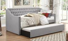 4966 Tulney gray button tufted fabric tufted back twin day bed with trundle