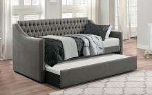 4966DG Tulney dark gray button tufted fabric tufted back twin day bed with trundle