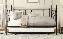 4968BK-NT 2 pc Auberon black finish metal twin day bed with pull out trundle
