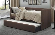 4969CH Tristan chocolate faux linen fabric nail head trim twin day bed with trundle