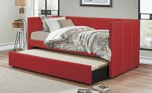 4969RD Tristan red faux linen fabric nail head trim twin day bed with trundle