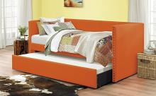 4969RN Tristan orange faux linen fabric nail head trim twin day bed with trundle