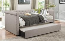 4970 Tristan II gray faux linen fabric tufted twin day bed with trundle
