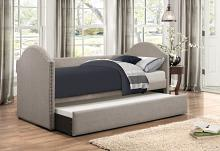 4972 Tristan II gray faux linen fabric twin day bed with trundle