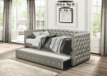 4974SL Tristan silver faux leather nail head trim twin day bed with trundle