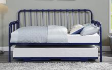 4983BU-NT 2 pc Constance navy blue finish metal twin day bed with lift up trundle