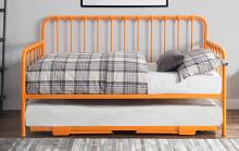 4983RN-NT 2 pc Constance orange finish metal twin day bed with lift up trundle