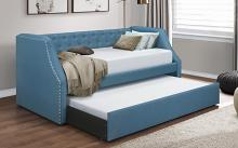 4984BU Corrina blue button tufted fabric nail head trim twin day bed with trundle