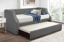 4984GY Corrina gray button tufted fabric nail head trim twin day bed with trundle