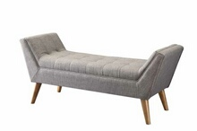 Grey tufted linen like fabric upholstered retro design bedroom ottoman bench