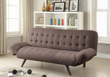 500041 Wildon home mink gray woven fabric walnut finish wood folding sofa / futon bed with tufted accents