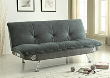 500046 Latitude run fenton grey padded textured velvet folding futon sofa bed blue tooth speaker system