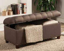 Mocha fabric upholstered tufted top storage bedroom ottoman bench