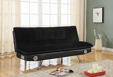500187 Makayla black padded textured velvet folding futon sofa bed blue tooth speaker system