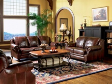 2 pc princeton collection 100% tri-tone burgundy leather upholstered sofa and love seat set with nail head trim