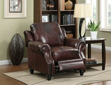 500663 Burgundy 100% leather upholstered recliner chair with nail head trim
