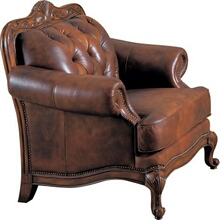Victoria collection 100% tri-tone warm brown leather upholstered chair with nail head trim