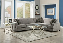 500727 3 pc tess collection transitional style grey microvelvet fabric upholstered sectional sofa with pull out bed