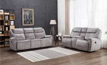 GU-5008GY-2PC 2 pc Reston grey velvet fabric sofa and love seat with recliner ends