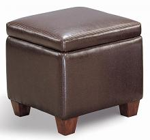 500903 Dark brown leatherette square cube storage ottoman footstool
