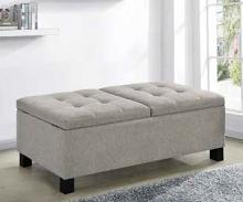 915146 Alcott hill kenyon sandy beige fabric tufted top storage bedroom ottoman bench
