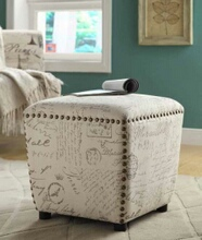 501108 Off white and grey french script fabric upholstered cube ottoman with nail head trim
