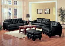 501681-82 2 pc Latitude run ewenn samuel black breathable leatherette sofa and love seat set