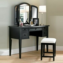 Antique Black finish wood with Sand Through Terra Cotta Bedroom Vanity, Mirror & Bench set