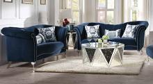 Acme 50345-46 2 pc Everly quinn sienna jaborosa blue velvet fabric tufted back sofa and love seat set