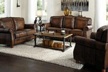 503981-82 2 pc Darby home co linglestown montbrook hand rubbed brown finish 100% leather sofa and love seat set