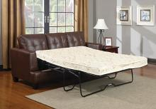 504070 Latitude run redner samuel dark brown breathable leatherette sofa with pull out sleeper bed