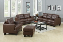 2 pc samuel dark brown bonded leather upholstered sofa and love seat set with tufted seat and back