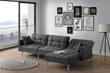 Acme 50485 3 pc Latitude run duzzy dark gray fabric sectional sofa set with reversible chaise